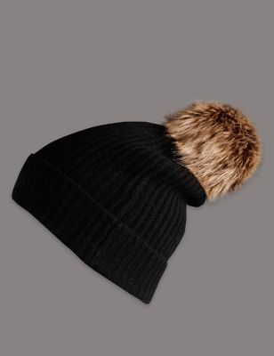 Pure Cashmere Bobble Hat - predominant colour: black; occasions: casual; type of pattern: standard; style: bobble; size: standard; material: knits; pattern: plain; embellishment: bobble; season: s/s 2016; wardrobe: basic