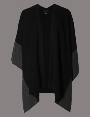 Pure Cashmere Border Wrap - predominant colour: black; occasions: casual; type of pattern: standard; style: wrap; size: large; pattern: plain; material: cashmere; season: s/s 2016; wardrobe: investment