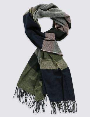 Block Stripe Scarf - predominant colour: navy; secondary colour: khaki; occasions: casual, creative work; type of pattern: light; style: pashmina; size: large; material: fabric; pattern: checked/gingham; season: s/s 2016; wardrobe: highlight