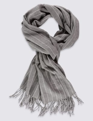 Elemental Stripe Scarf - secondary colour: mid grey; predominant colour: light grey; occasions: casual; type of pattern: standard; style: regular; size: standard; material: fabric; pattern: pinstripe; season: s/s 2016