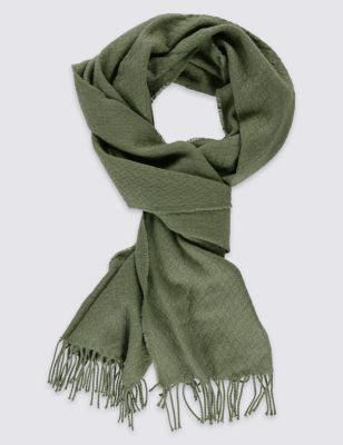 Plain Textured Scarf - predominant colour: khaki; occasions: casual, creative work; type of pattern: standard; style: pashmina; size: standard; material: fabric; embellishment: fringing; pattern: plain; season: s/s 2016; wardrobe: basic; trends: romantic explorer