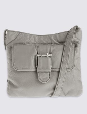 Faux Leather Across Body Bag - predominant colour: light grey; occasions: casual, creative work; type of pattern: standard; style: shoulder; length: across body/long; size: mini; material: faux leather; pattern: plain; finish: plain; season: s/s 2016