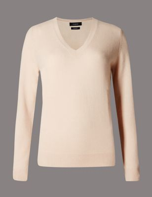 Pure Cashmere V Neck Jumper - neckline: v-neck; pattern: plain; style: standard; predominant colour: blush; occasions: casual, creative work; length: standard; fit: standard fit; fibres: cashmere - 100%; sleeve length: long sleeve; sleeve style: standard; texture group: knits/crochet; pattern type: knitted - fine stitch; season: s/s 2015; wardrobe: investment