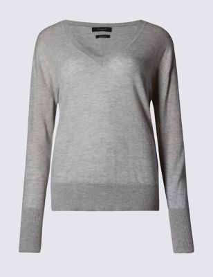 Pure Cashmere V Neck Jumper - neckline: v-neck; pattern: plain; style: standard; predominant colour: mid grey; occasions: casual, work, creative work; length: standard; fit: standard fit; fibres: cashmere - 100%; sleeve length: long sleeve; sleeve style: standard; texture group: knits/crochet; pattern type: knitted - fine stitch; season: s/s 2016; wardrobe: investment