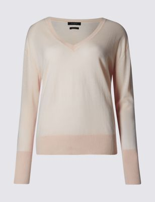 Pure Cashmere V Neck Jumper - neckline: v-neck; pattern: plain; style: standard; predominant colour: nude; occasions: casual, work, creative work; length: standard; fit: standard fit; fibres: cashmere - 100%; sleeve length: long sleeve; sleeve style: standard; texture group: knits/crochet; pattern type: knitted - fine stitch; season: s/s 2016; wardrobe: investment