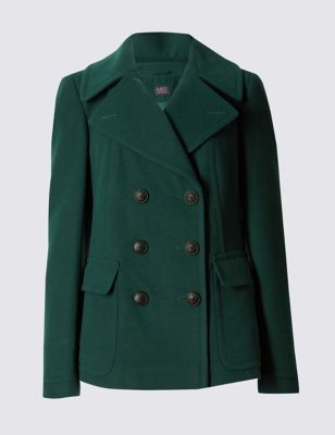Peacoat Jacket - pattern: plain; length: standard; style: pea coat; collar: standard lapel/rever collar; hip detail: fitted at hip; predominant colour: dark green; occasions: casual, creative work; fit: tailored/fitted; fibres: polyester/polyamide - stretch; sleeve length: long sleeve; sleeve style: standard; collar break: medium; pattern type: fabric; texture group: other - bulky/heavy; season: s/s 2016
