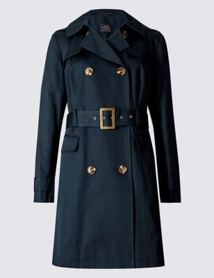 Petite Button Through Trench Coat - pattern: plain; style: trench coat; length: mid thigh; predominant colour: navy; occasions: work, creative work; fit: tailored/fitted; fibres: cotton - 100%; collar: shirt collar/peter pan/zip with opening; waist detail: belted waist/tie at waist/drawstring; sleeve length: long sleeve; sleeve style: standard; texture group: cotton feel fabrics; collar break: high/illusion of break when open; pattern type: fabric; season: s/s 2016; wardrobe: highlight