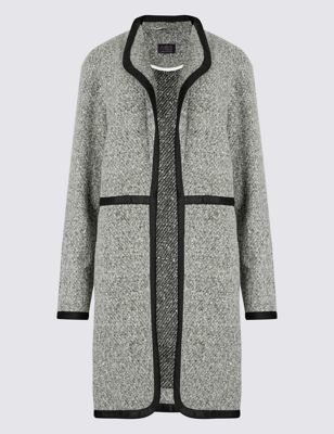 Crew Neck Boucle Casual Coat - collar: round collar/collarless; style: single breasted; pattern: herringbone/tweed; length: mid thigh; predominant colour: mid grey; secondary colour: black; occasions: casual, creative work; fit: straight cut (boxy); fibres: polyester/polyamide - 100%; sleeve length: long sleeve; sleeve style: standard; collar break: low/open; pattern type: fabric; pattern size: light/subtle; texture group: tweed - bulky/heavy; season: s/s 2016; wardrobe: basic