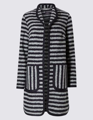 Striped Textured Coat With Wool - pattern: striped; collar: round collar/collarless; style: single breasted; hip detail: draws attention to hips; length: mid thigh; predominant colour: light grey; secondary colour: black; occasions: casual; fit: straight cut (boxy); fibres: polyester/polyamide - mix; sleeve length: long sleeve; sleeve style: standard; collar break: low/open; pattern type: fabric; pattern size: standard; texture group: woven bulky/heavy; season: s/s 2016; wardrobe: highlight