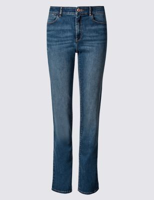 Sculpt & Lift Straight Leg Jeans - style: straight leg; length: standard; pattern: plain; pocket detail: traditional 5 pocket; waist: mid/regular rise; predominant colour: navy; occasions: casual, creative work; fibres: cotton - stretch; texture group: denim; pattern type: fabric; season: s/s 2016; wardrobe: basic