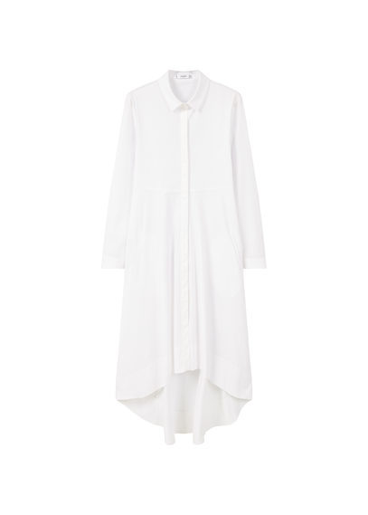 Asymmetric Hem Dress - style: shirt; neckline: shirt collar/peter pan/zip with opening; fit: loose; pattern: plain; predominant colour: white; occasions: casual, creative work; length: on the knee; fibres: cotton - 100%; back detail: longer hem at back than at front; sleeve length: long sleeve; sleeve style: standard; texture group: cotton feel fabrics; pattern type: fabric; season: s/s 2016; wardrobe: basic