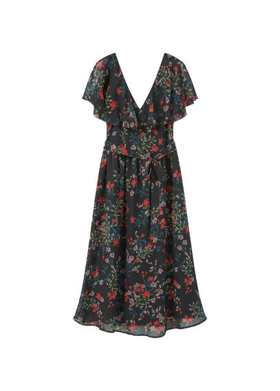 Ruffled Printed Dress - style: tea dress; length: below the knee; neckline: low v-neck; sleeve style: angel/waterfall; waist detail: belted waist/tie at waist/drawstring; predominant colour: navy; occasions: casual, creative work; fit: fitted at waist & bust; fibres: polyester/polyamide - 100%; hip detail: subtle/flattering hip detail; sleeve length: short sleeve; texture group: sheer fabrics/chiffon/organza etc.; pattern type: fabric; pattern: florals; secondary colour: raspberry; multicoloured: multicoloured; season: s/s 2016; wardrobe: highlight