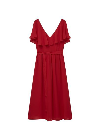 Ruffled Chiffon Dress - style: shift; length: below the knee; neckline: v-neck; pattern: plain; bust detail: subtle bust detail; predominant colour: burgundy; occasions: evening; fit: body skimming; fibres: polyester/polyamide - 100%; sleeve length: short sleeve; sleeve style: standard; texture group: sheer fabrics/chiffon/organza etc.; pattern type: fabric; season: s/s 2016; wardrobe: event