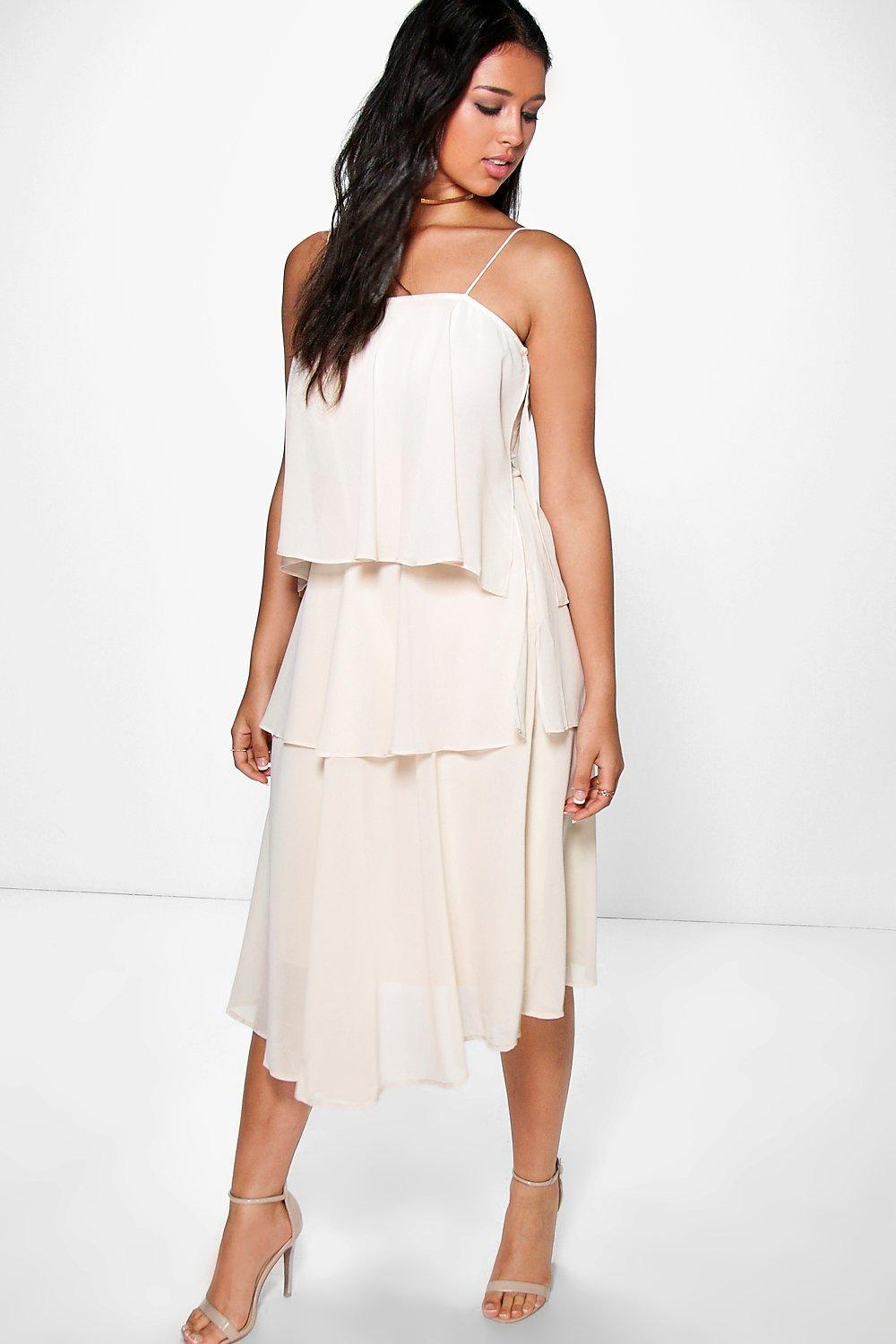 Ruffle Chiffon Strappy Midi Dress Cream - style: shift; length: calf length; sleeve style: spaghetti straps; pattern: plain; bust detail: ruching/gathering/draping/layers/pintuck pleats at bust; predominant colour: ivory/cream; occasions: evening; fit: body skimming; fibres: polyester/polyamide - 100%; sleeve length: sleeveless; texture group: sheer fabrics/chiffon/organza etc.; neckline: medium square neck; pattern type: fabric; season: s/s 2016; wardrobe: event