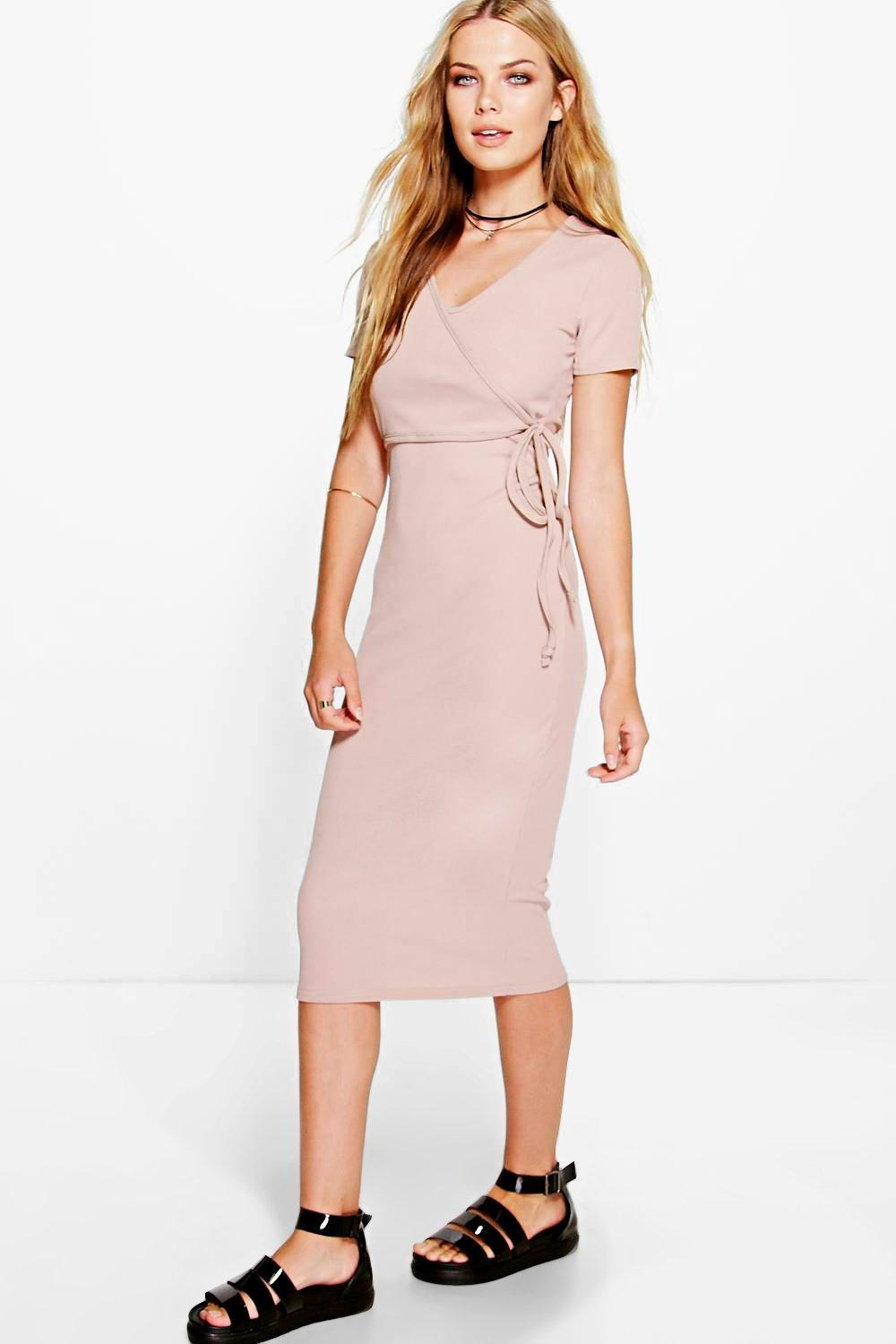 Ribbed Cap Sleeve Midi Dress Sand - style: faux wrap/wrap; length: below the knee; neckline: v-neck; pattern: plain; waist detail: belted waist/tie at waist/drawstring; predominant colour: blush; occasions: evening; fit: body skimming; fibres: viscose/rayon - stretch; sleeve length: short sleeve; sleeve style: standard; pattern type: fabric; texture group: jersey - stretchy/drapey; season: s/s 2016; wardrobe: event