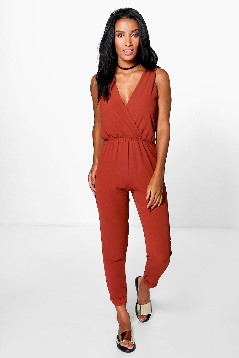Cross Front Woven Jumpsuit Spice - length: standard; neckline: v-neck; pattern: plain; sleeve style: sleeveless; predominant colour: terracotta; occasions: evening; fit: body skimming; fibres: viscose/rayon - 100%; sleeve length: sleeveless; style: jumpsuit; pattern type: fabric; texture group: jersey - stretchy/drapey; season: s/s 2016; wardrobe: event