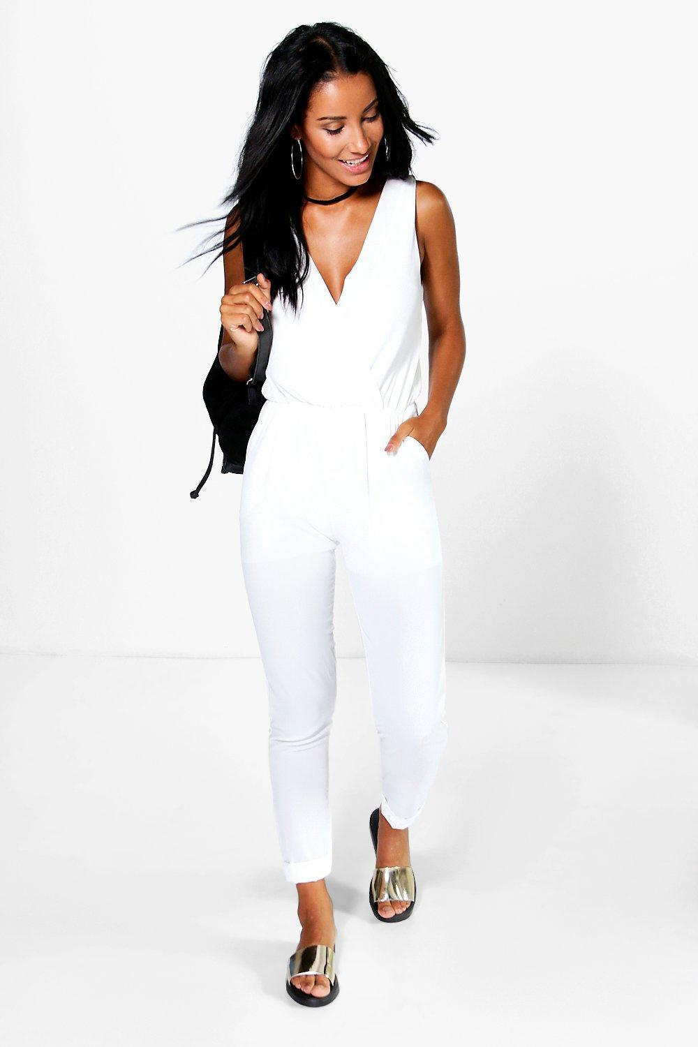 Cross Front Woven Jumpsuit White - length: standard; neckline: low v-neck; pattern: plain; sleeve style: sleeveless; predominant colour: white; occasions: evening; fit: body skimming; fibres: viscose/rayon - 100%; sleeve length: sleeveless; style: jumpsuit; pattern type: fabric; texture group: jersey - stretchy/drapey; season: s/s 2016