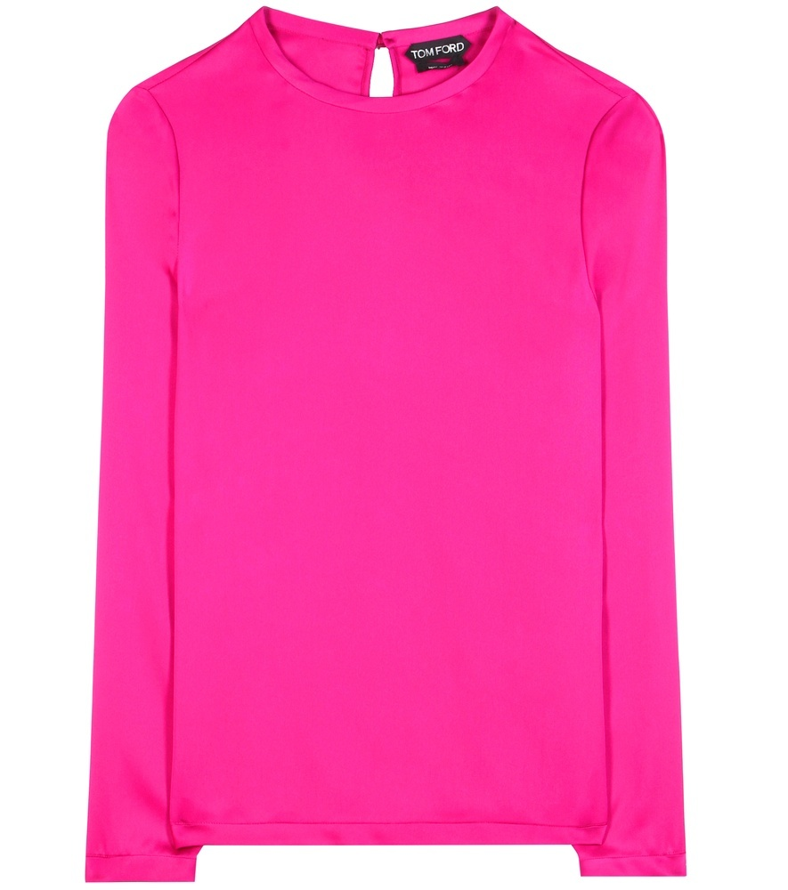 Silk Blouse - pattern: plain; style: blouse; predominant colour: hot pink; occasions: evening; length: standard; fibres: silk - 100%; fit: body skimming; neckline: crew; sleeve length: long sleeve; sleeve style: standard; texture group: silky - light; pattern type: fabric; season: s/s 2016; wardrobe: event