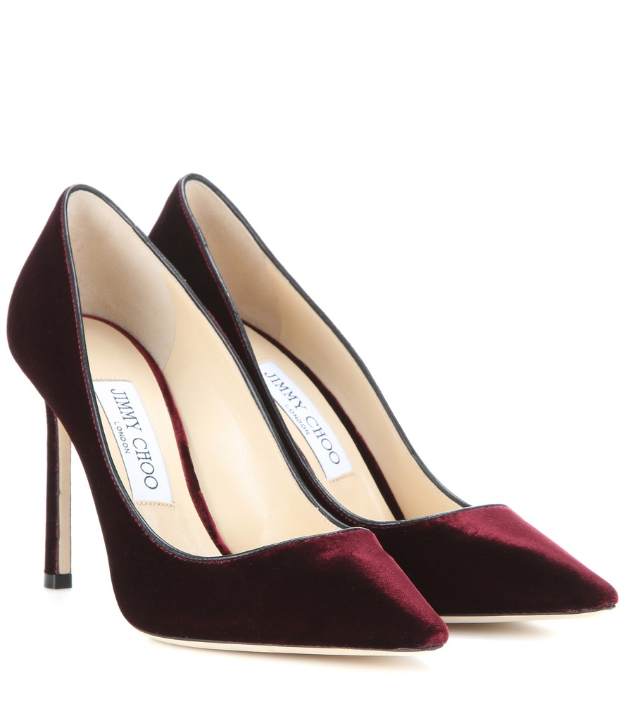 Romy 100 Velvet Pumps - predominant colour: burgundy; occasions: evening, occasion; material: velvet; heel: stiletto; toe: pointed toe; style: courts; finish: plain; pattern: plain; heel height: very high; season: s/s 2016; wardrobe: event