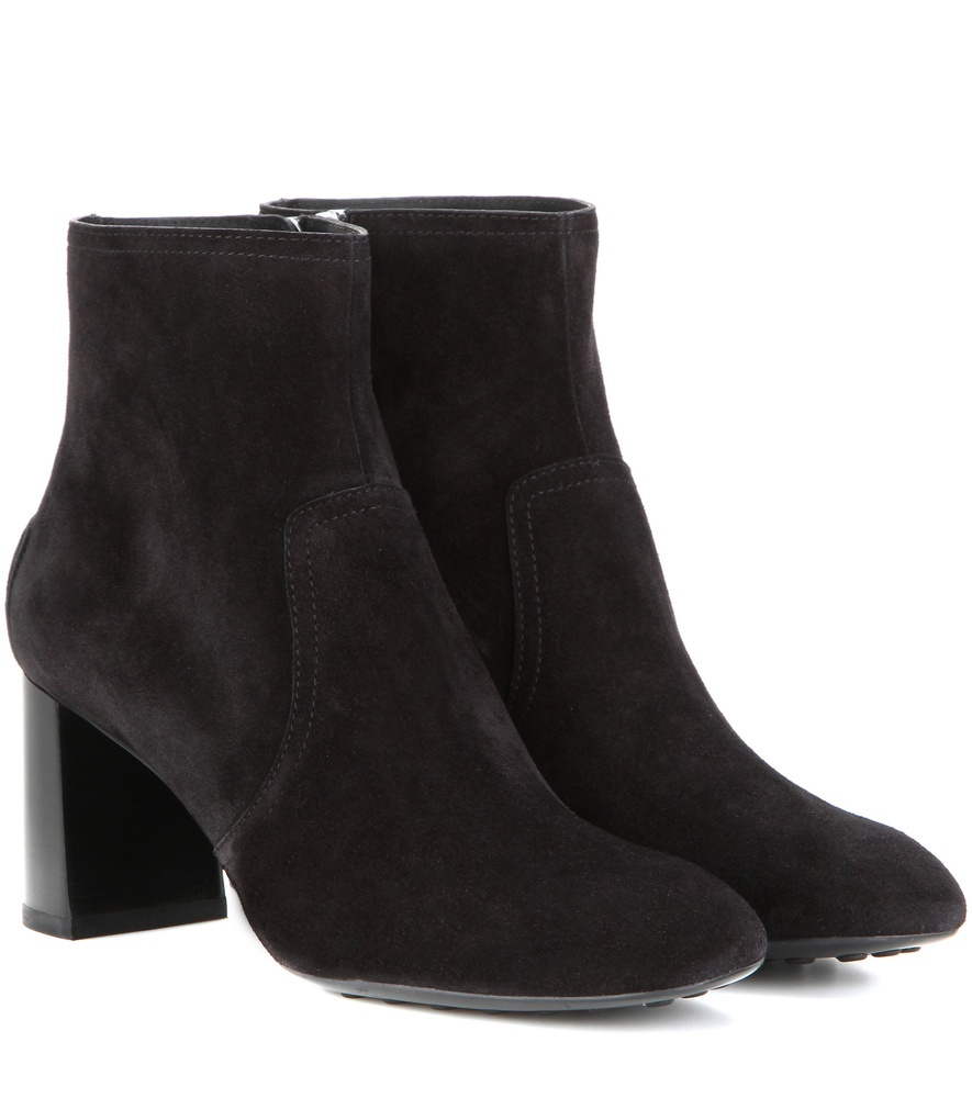 Suede Ankle Boots - predominant colour: black; occasions: casual, creative work; material: suede; heel height: high; heel: block; toe: round toe; boot length: ankle boot; style: standard; finish: plain; pattern: plain; season: s/s 2016; wardrobe: highlight