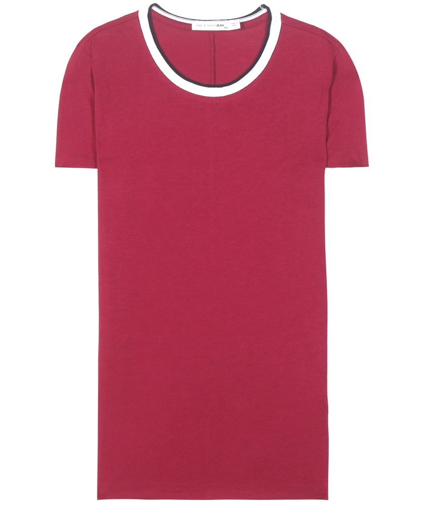 Rib Base Cotton Tshirt - neckline: round neck; pattern: plain; style: t-shirt; secondary colour: white; predominant colour: hot pink; occasions: casual; length: standard; fibres: cotton - 100%; fit: body skimming; sleeve length: short sleeve; sleeve style: standard; pattern type: fabric; texture group: jersey - stretchy/drapey; multicoloured: multicoloured; season: s/s 2016