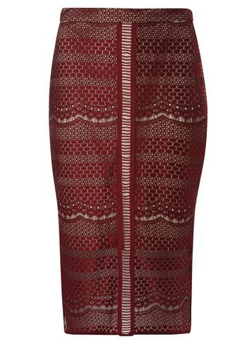 Womens Wine Lace Column Skirt Red - length: below the knee; pattern: plain; style: pencil; fit: tailored/fitted; waist: mid/regular rise; predominant colour: true red; occasions: evening, occasion; pattern type: fabric; texture group: other - light to midweight; fibres: nylon - stretch; embellishment: lace; season: s/s 2016; wardrobe: event