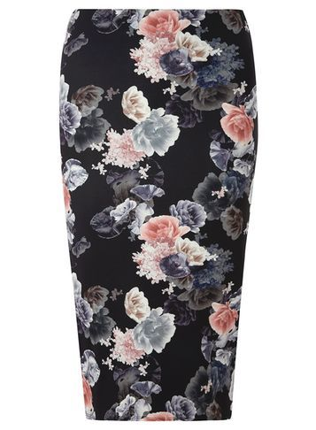 Womens Black Floral Column Skirt Black - style: pencil; fit: body skimming; waist: mid/regular rise; secondary colour: blush; predominant colour: black; occasions: evening; length: just above the knee; fibres: polyester/polyamide - stretch; pattern type: fabric; pattern: florals; texture group: jersey - stretchy/drapey; multicoloured: multicoloured; season: s/s 2016; wardrobe: event