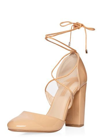 Womens Nude 'enchant' Ghillie Court Shoes Nude. - predominant colour: nude; occasions: evening, creative work; material: faux leather; heel height: high; ankle detail: ankle tie; heel: block; toe: round toe; style: courts; finish: plain; pattern: plain; season: s/s 2016; wardrobe: investment