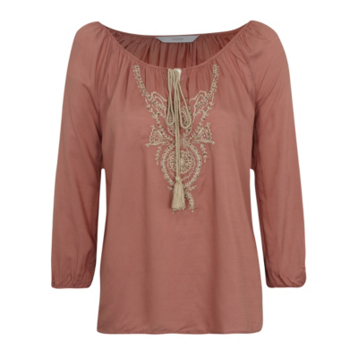 Embroidered Peasant Blouse Pink - neckline: round neck; style: blouse; occasions: casual; length: standard; fit: body skimming; sleeve length: long sleeve; sleeve style: standard; pattern type: fabric; pattern: patterned/print; texture group: other - light to midweight; predominant colour: dusky pink; embellishment: embroidered; fibres: cashmere - mix; season: s/s 2016; wardrobe: highlight