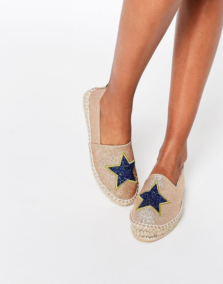 Jellybean Novelty Star Espadrilles Gold - predominant colour: ivory/cream; secondary colour: royal blue; occasions: casual, holiday; material: fabric; heel height: flat; embellishment: embroidered; toe: round toe; finish: plain; pattern: plain; style: espadrilles; season: s/s 2016; wardrobe: highlight
