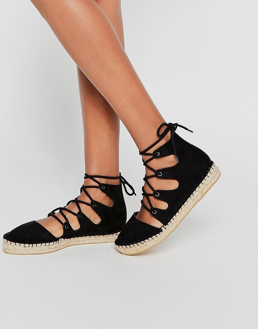Jolt Lace Up Espadrilles Black - predominant colour: black; occasions: casual, holiday; material: fabric; heel height: flat; ankle detail: ankle tie; toe: round toe; finish: plain; pattern: plain; style: espadrilles; season: s/s 2016