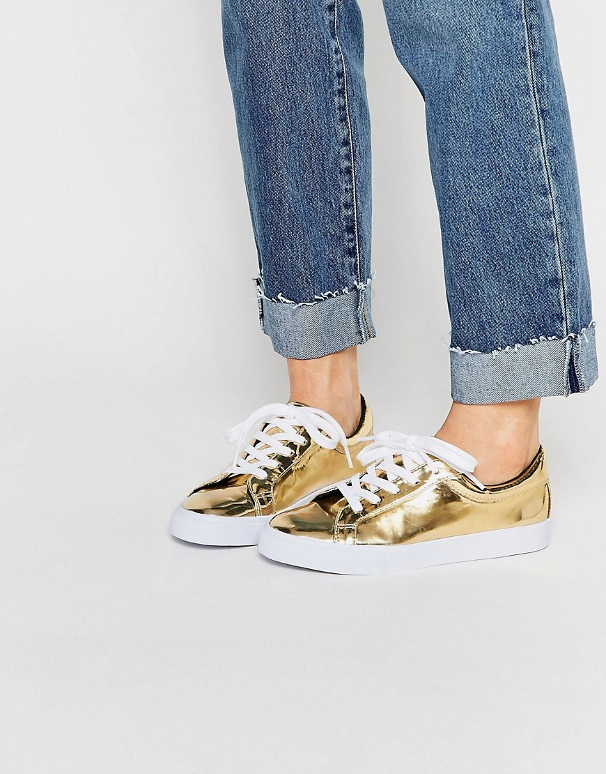 Diaz Lace Up Trainers Gold - predominant colour: gold; occasions: casual; material: faux leather; heel height: flat; toe: round toe; style: trainers; finish: metallic; pattern: plain; season: s/s 2016; wardrobe: basic