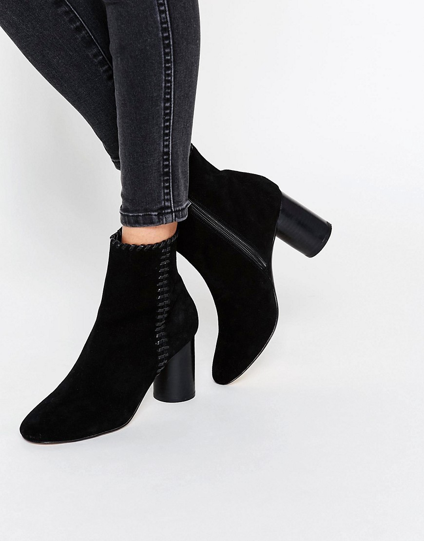 Raine Suede Ankle Boots Black - predominant colour: black; occasions: casual, creative work; material: suede; heel height: high; heel: block; toe: round toe; boot length: ankle boot; style: standard; finish: plain; pattern: plain; season: s/s 2016; wardrobe: highlight