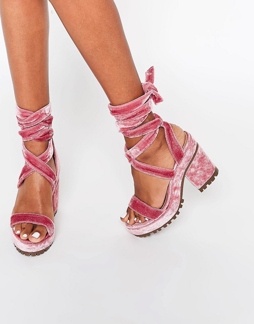 Trixy Lace Up Heeled Sandals Blush - predominant colour: hot pink; occasions: casual; material: fabric; heel height: mid; ankle detail: ankle tie; heel: block; toe: open toe/peeptoe; style: strappy; finish: plain; pattern: plain; shoe detail: platform; season: s/s 2016; wardrobe: highlight