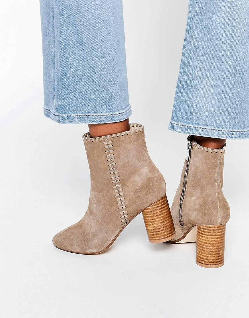 Raine Suede Ankle Boots Taupe - predominant colour: taupe; occasions: casual, creative work; material: suede; heel height: high; heel: block; toe: round toe; boot length: ankle boot; style: standard; finish: plain; pattern: plain; season: s/s 2016; wardrobe: highlight