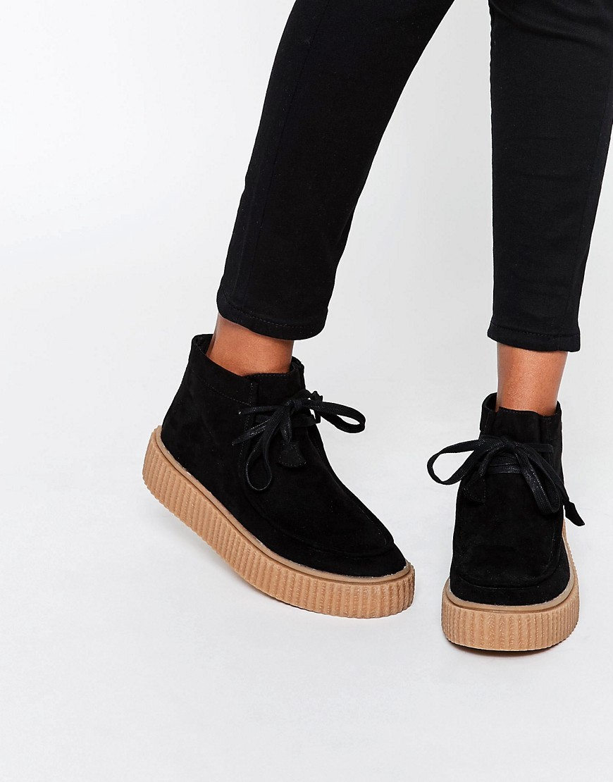 Anyan Creeper Lace Up Boots Black - predominant colour: black; occasions: casual; heel height: flat; heel: standard; toe: round toe; boot length: ankle boot; style: standard; finish: plain; pattern: plain; material: faux suede; shoe detail: platform; season: s/s 2016; wardrobe: basic