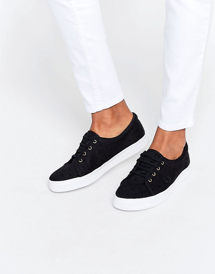 Aubyn Black Flocked Polka Dot Twill Plimsoll Trainers Black/Black - secondary colour: white; predominant colour: black; occasions: casual; material: fabric; heel height: flat; toe: round toe; style: trainers; finish: plain; pattern: plain; season: s/s 2016