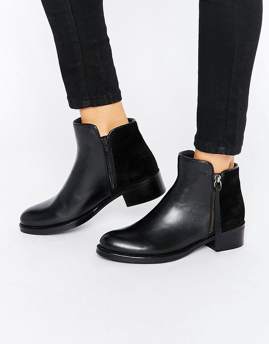 Pryme Black Leather Ankle Boot Black - predominant colour: black; occasions: casual, creative work; material: leather; heel height: mid; heel: block; toe: round toe; boot length: ankle boot; style: standard; finish: plain; pattern: plain; season: s/s 2016