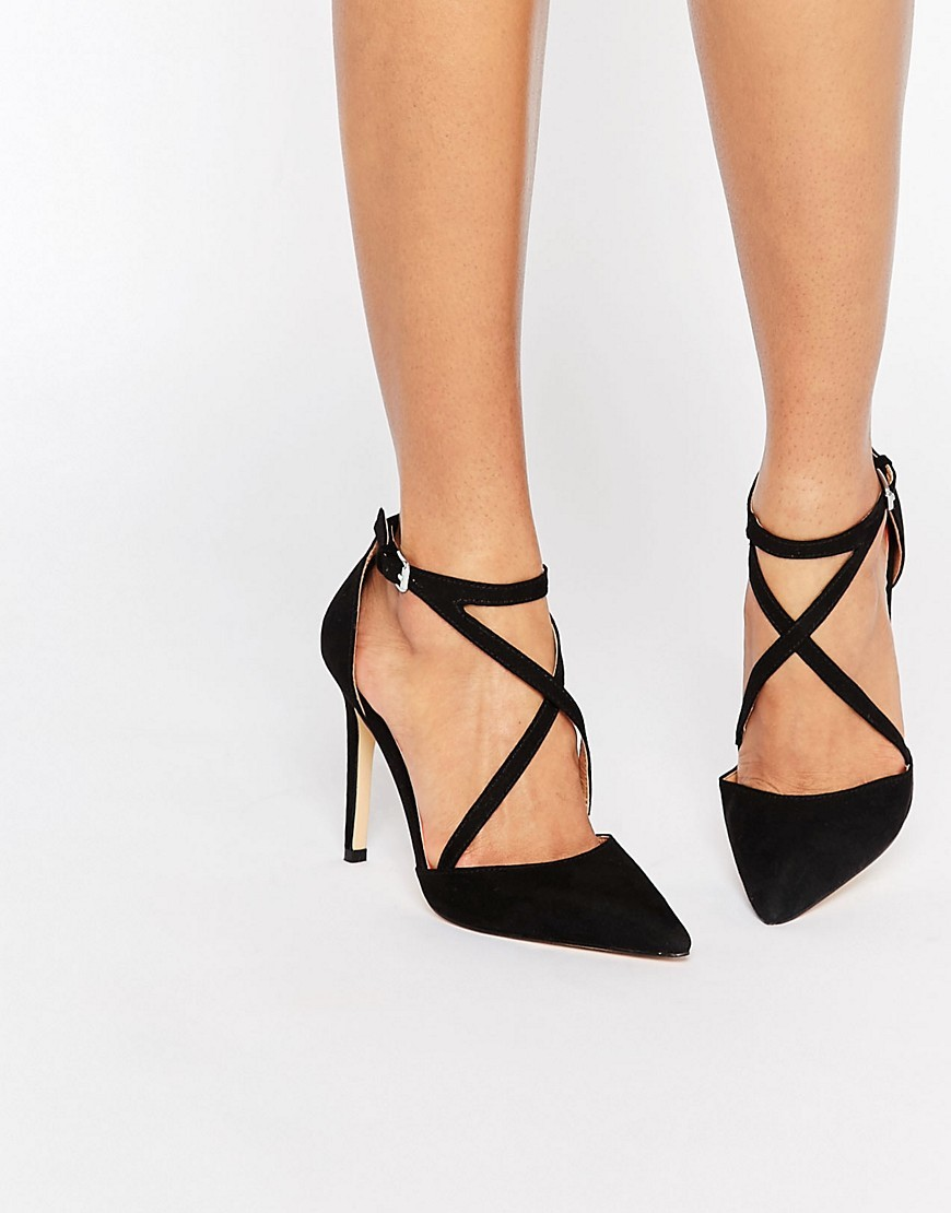 Shelby Cross Strap Point Heeled Shoes Black Suedette - predominant colour: black; occasions: evening, occasion; heel height: high; ankle detail: ankle strap; heel: stiletto; toe: pointed toe; style: courts; finish: plain; pattern: plain; material: faux suede; season: s/s 2016; wardrobe: event