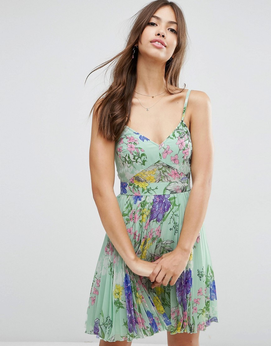 Sheer And Solid Pleated Mini Dress In Scarf Print Mint - neckline: low v-neck; sleeve style: spaghetti straps; secondary colour: purple; predominant colour: pistachio; occasions: evening; length: just above the knee; fit: fitted at waist & bust; style: fit & flare; fibres: viscose/rayon - 100%; sleeve length: sleeveless; pattern type: fabric; pattern size: big & busy; pattern: florals; texture group: woven light midweight; multicoloured: multicoloured; season: s/s 2016; wardrobe: event