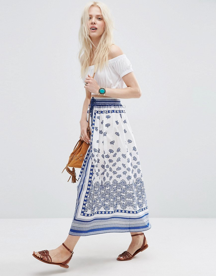 Floral Mirror Print Midi Skirt With Drawstring Waist Multi - length: calf length; fit: loose/voluminous; waist: high rise; waist detail: belted waist/tie at waist/drawstring; predominant colour: white; secondary colour: navy; occasions: casual, holiday; style: a-line; fibres: cotton - 100%; texture group: cotton feel fabrics; pattern type: fabric; pattern: patterned/print; season: s/s 2016; wardrobe: highlight