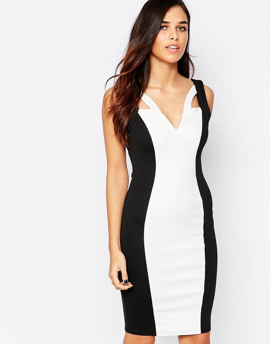 Monochrome Pencil Dress Black / White - neckline: low v-neck; fit: tight; sleeve style: sleeveless; style: bodycon; hip detail: fitted at hip; predominant colour: white; secondary colour: black; occasions: evening; length: just above the knee; fibres: polyester/polyamide - stretch; sleeve length: sleeveless; trends: monochrome; texture group: jersey - clingy; pattern type: fabric; pattern size: standard; pattern: colourblock; season: s/s 2016; wardrobe: event