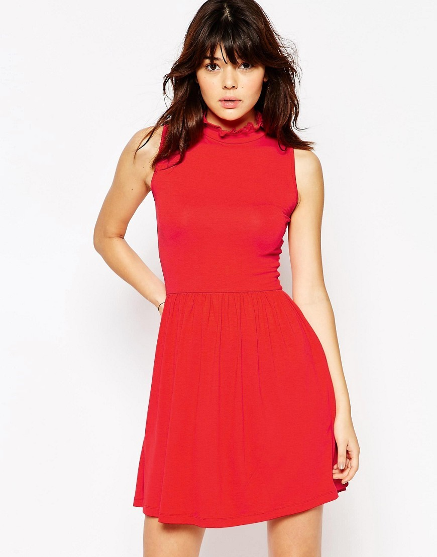 Ruffle Edge High Neck Skater Red - length: mid thigh; pattern: plain; sleeve style: sleeveless; neckline: high neck; waist detail: fitted waist; predominant colour: true red; occasions: evening, occasion; fit: fitted at waist & bust; style: fit & flare; fibres: polyester/polyamide - 100%; hip detail: soft pleats at hip/draping at hip/flared at hip; sleeve length: sleeveless; texture group: crepes; pattern type: fabric; season: s/s 2016; wardrobe: event