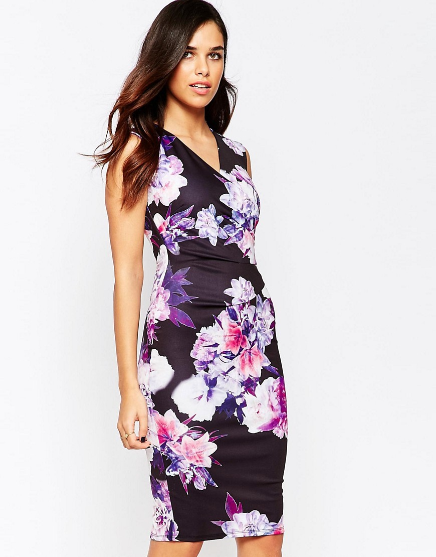 Erin Cross Front Floral Pencil Dress Multi Floral - neckline: v-neck; fit: tight; sleeve style: sleeveless; style: bodycon; secondary colour: white; predominant colour: black; occasions: evening; length: on the knee; fibres: polyester/polyamide - stretch; sleeve length: sleeveless; texture group: jersey - clingy; pattern type: fabric; pattern size: big & busy; pattern: florals; multicoloured: multicoloured; season: s/s 2016; wardrobe: event