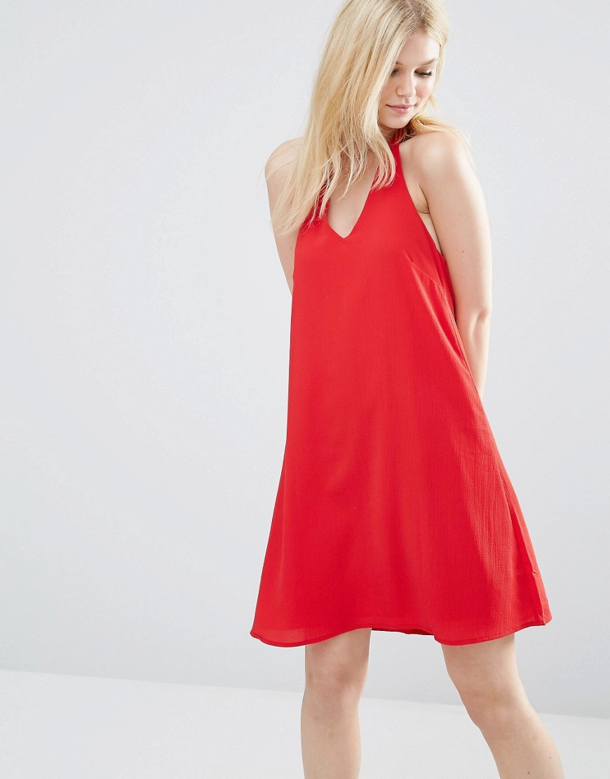 Halter Dress Red - style: trapeze; fit: loose; pattern: plain; sleeve style: sleeveless; predominant colour: true red; occasions: evening; length: just above the knee; fibres: polyester/polyamide - 100%; sleeve length: sleeveless; pattern type: fabric; texture group: jersey - stretchy/drapey; season: s/s 2016; neckline: high halter neck; wardrobe: event