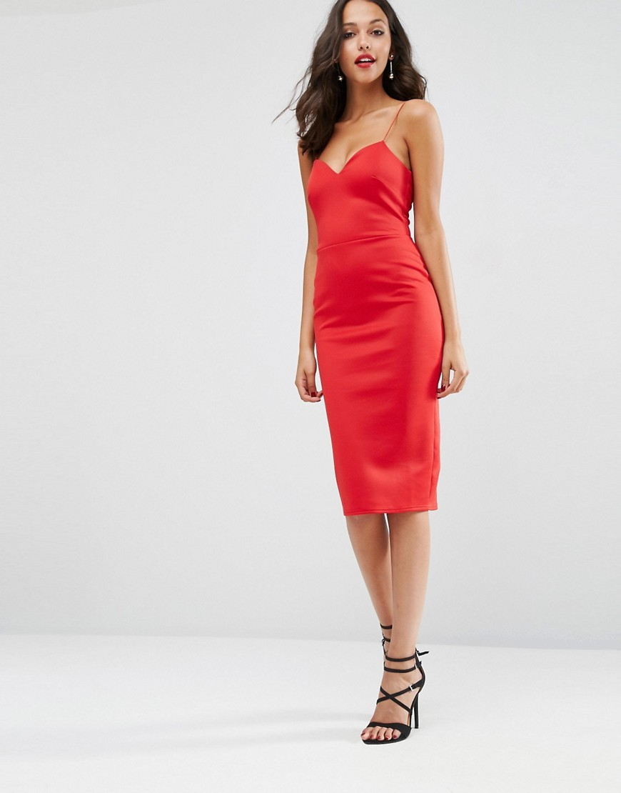 Scuba Deep Plunge Midi Bodycon Dress Red - length: below the knee; neckline: low v-neck; sleeve style: spaghetti straps; fit: tight; pattern: plain; style: bodycon; predominant colour: true red; occasions: evening; fibres: polyester/polyamide - stretch; sleeve length: sleeveless; texture group: jersey - clingy; pattern type: fabric; season: s/s 2016; wardrobe: event
