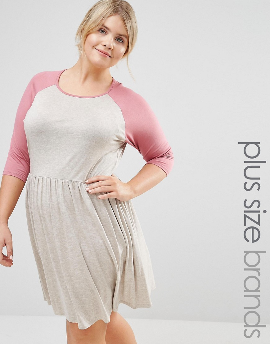 Lounge Raglan Skater Dress Beige - secondary colour: pink; predominant colour: light grey; occasions: casual; length: on the knee; fit: fitted at waist & bust; style: fit & flare; fibres: viscose/rayon - stretch; neckline: crew; sleeve length: 3/4 length; sleeve style: standard; pattern type: fabric; pattern: colourblock; texture group: jersey - stretchy/drapey; multicoloured: multicoloured; season: s/s 2016; wardrobe: highlight