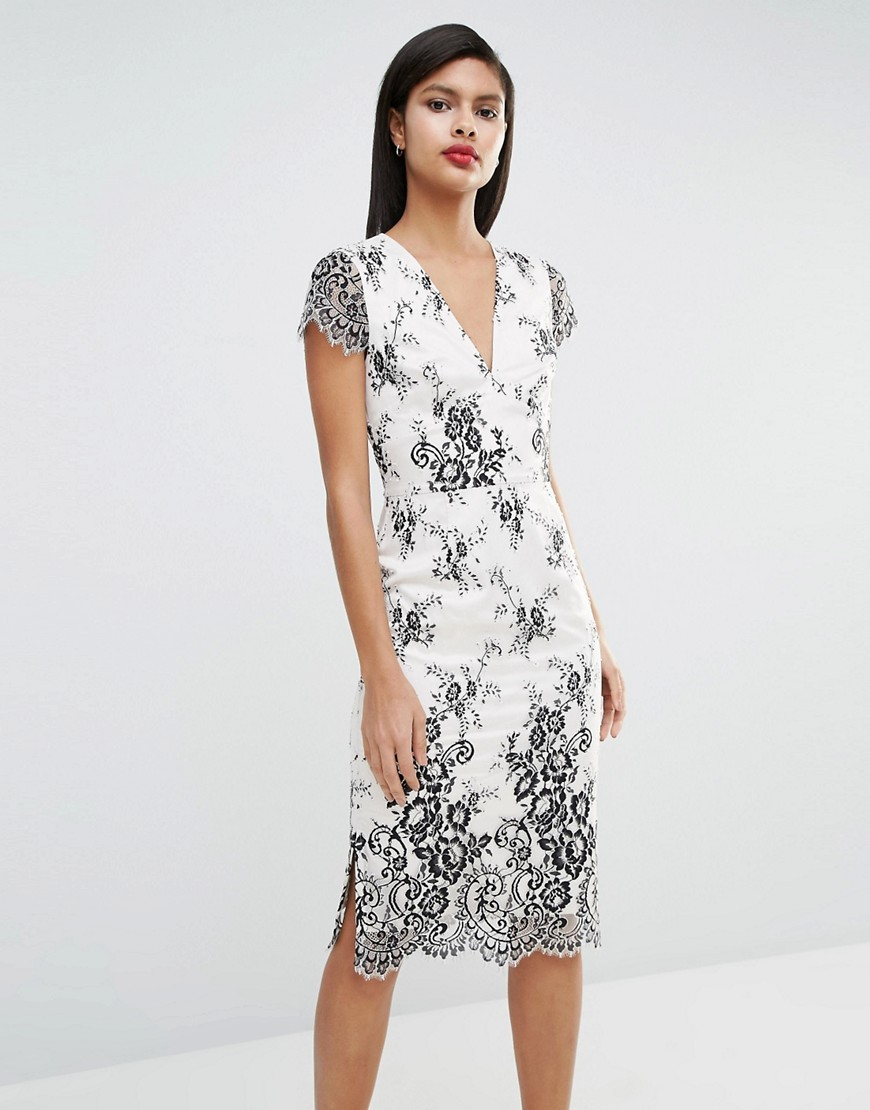 Rosalie Lace Midi Dress Black/Cream - length: below the knee; neckline: v-neck; sleeve style: capped; fit: tight; style: bodycon; predominant colour: ivory/cream; secondary colour: black; occasions: evening; fibres: polyester/polyamide - mix; sleeve length: short sleeve; texture group: lace; pattern type: fabric; pattern: patterned/print; multicoloured: multicoloured; season: s/s 2016