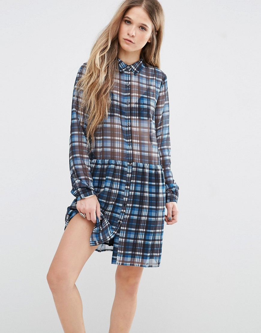 Claire Check Dress Multi 542 - style: shirt; neckline: shirt collar/peter pan/zip with opening; pattern: checked/gingham; predominant colour: royal blue; secondary colour: black; occasions: casual; length: just above the knee; fit: body skimming; fibres: polyester/polyamide - 100%; sleeve length: long sleeve; sleeve style: standard; texture group: sheer fabrics/chiffon/organza etc.; pattern type: fabric; multicoloured: multicoloured; season: s/s 2016; wardrobe: highlight