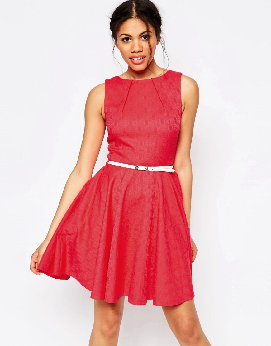 Closet Jacquard Belted Skater Dress Pink - pattern: plain; sleeve style: sleeveless; waist detail: belted waist/tie at waist/drawstring; predominant colour: hot pink; occasions: evening; length: just above the knee; fit: fitted at waist & bust; style: fit & flare; fibres: cotton - stretch; neckline: crew; sleeve length: sleeveless; pattern type: fabric; texture group: brocade/jacquard; season: s/s 2016